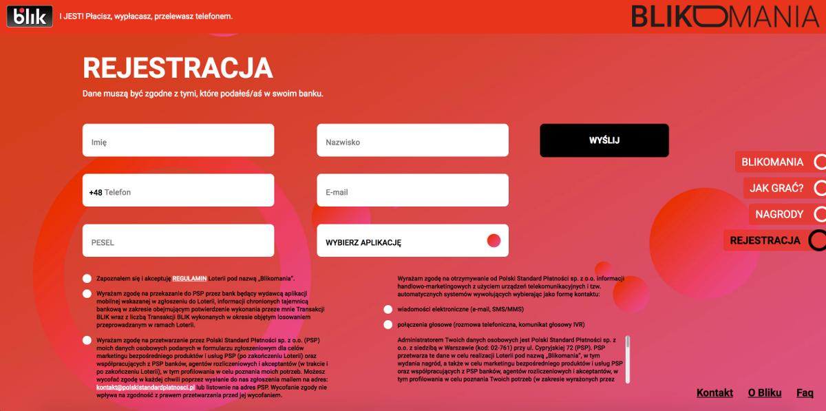 rejestracja w blikomania - formularz rejestracyjny