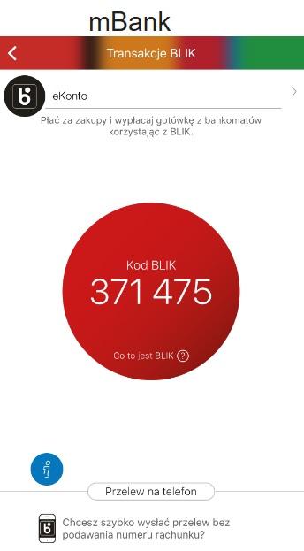 BLIK mBank screen