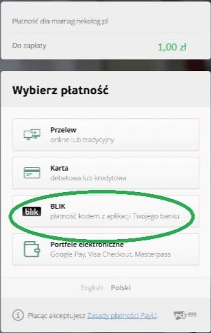 Screen ekranu - płatność Blik