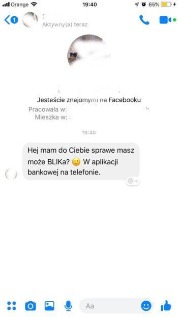 Screen z telefonu. Próba oszustwa BLIK-iem przez Messenger