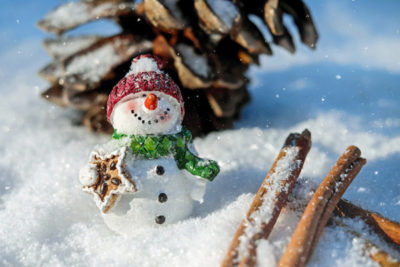 Bałwanek - cynamon i szyszka - Święta Bożego Narodzenia